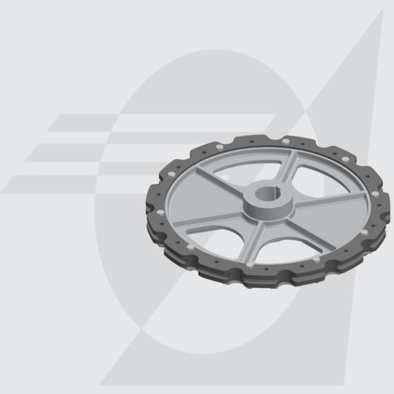 "Roda Motriz Ø485mm Furo Ø50mm Castanha Dupla 4"""