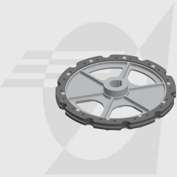 "Roda Motriz Ø485mm Furo Ø50mm Castanha Dupla 6"""
