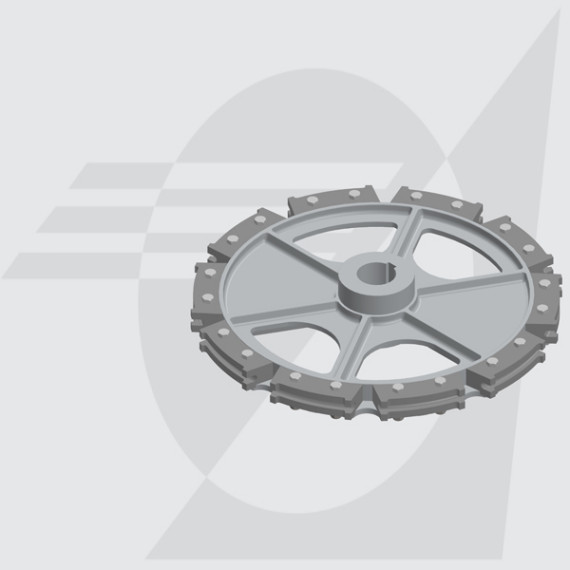 "Roda Motriz Ø485mm Furo Ø50mm Castanha Simples com Haste 6"""
